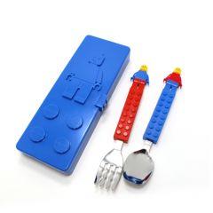 Oxford Creation-積木公仔兒童餐具叉匙套裝(藍色餐盒) CT15SS0016