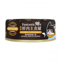 汪喵星球 - 98% Fantastic 鮮肉主食罐 雞肉鰹魚蝦仁餐 貓罐頭 80g