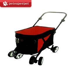 Petime Four-wheel folding Pet Stroller for Small Dog - (Red) DD4RPSRM450