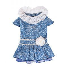 Blue Port -【Keep Cool 25°C】恆溫防蚊狗狗衣服 - 深藍色,淑女篷篷裙 DDC0007-all