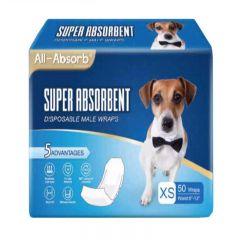 All-Absorb - 美國高效吸水一次性狗狗包腰紙尿布 (雄性專用) [50塊/包]