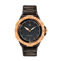 NOVE Trident Swiss Made Quartz Diver Watch for Men (Black Rose Gold E005-02) E005-02