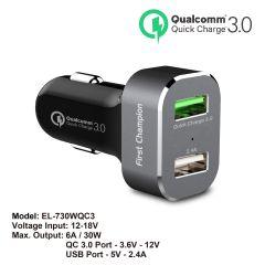 First Champion USB 汽車充電器 - EL-730WQC3 - 2 x USB 接口, 支援QC3.0快充