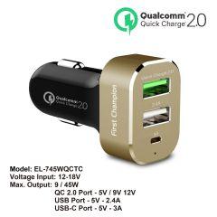 First Champion USB 汽車充電器 - EL-745WQCTC - 3 x USB接口, 支援Type-C & QC2.0快充 - EL-745WQCTC