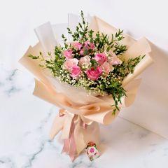 Gift Flowers HK - 粉紅玫瑰配滿天星花束 FB160030