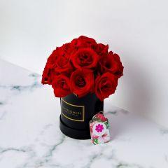 Gift Flowers HK - 玫瑰配黑色圓形禮盒 FB160068