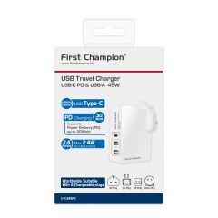 [iPhone 12限定快充套裝] PD30W USB家用/旅行充電器+ 200cm MFi USB-C至Lightning 快充數據線 FC-UTC345PDLTC200-G