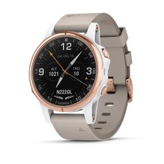 Garmin D2 Delta S Sapphire White Rose Gold with Beige Leather Band & White Silicone G010-01987-30