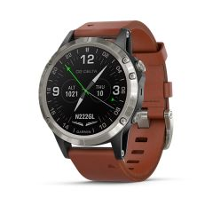 Garmin D2 Delta Sapphire Silver with Brown Leather Band & Black Silicone G010-01988-30