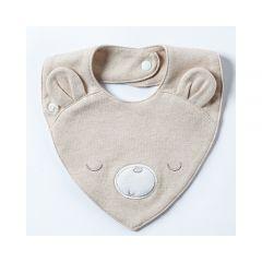 0/3 Baby - Natural Coloured Cotton Bib G08-03b01-SA