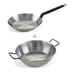 Garcima - [Made in Spain]Iron Double Handle Deep Pan (28cm/32cm) + Iron Frying Pan 28cm (Pata Negra 5 Stars series) GA-wok_pan28