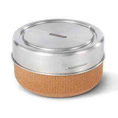 black+blum - 玻璃食物盒連不銹鋼蓋杏仁色 750ml (微波爐適用) GR-LB-L014