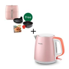 Philips - 1L Kettle HD9348/58 (Pink) + Airfryer HD9723/51 (Pink) (Free gift baking set & cookbook) HD9348_HD9723
