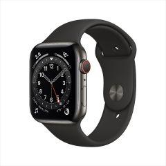 Apple Watch Series 6 GPS + 流動網絡, 44mm 石墨色不鏽鋼錶殼配黑色運動錶帶 2020