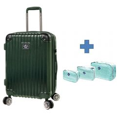 Staff Offer - [Free Gift Organizer Bag Set] Hallmark Design Collection Pc Case 4 Wheel Luggage Green (HM850T) HM850TGN-ALL-st