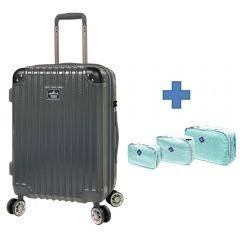 Staff Offer - [Free Gift Organizer Bag Set] Hallmark Design Collection Pc Case 4 Wheel Luggage Grey (HM850T) HM850TGY-ALL-st