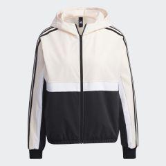 adidas Women Core FI JKT Hood 運動外套粉色/黑色