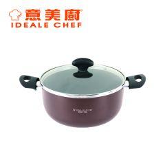 意美廚 - 意大利製 Famosa系列4.7公升易潔雙耳煲連玻璃蓋 啡色 (IC21524C)