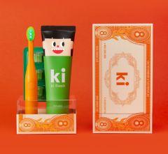 E:FLASH KI FLASH 保健固齒套裝 [橙色小童裝] 綠光LED牙刷 + 保健固齒牙膏120G