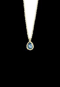 Sdori 水滴倫敦藍托帕石925純銀項鍊 - 18K金