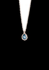 Sdori 水滴倫敦藍托帕石925純銀項鍊 - 玫瑰金