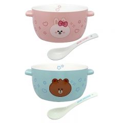 LINE FRIENDS - Soup Mug with Handles and Spoon Set(Brown/Cony) LF-SM-MO
