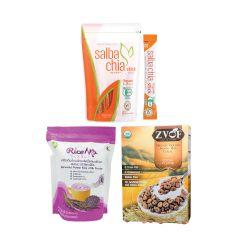 Salba Chia & ZVOF & L.I.F.E. - 營養早餐套裝•有機超營奇亞籽 - 香糙米脆穀物(可可味) - 有機胚芽黑莓米(獨立包裝) - 即食•美味 LIFE_BD-CSM