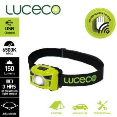 Luceco - LED Inspection Head torch 3W PIR Rechargeable Camping Hiking work lights LU-LILH15P65