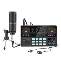 Maono - MAONOCASTER Lite AU-AM200S1 All-in-one Portable Mixer with Microphone (Black) MAONO_AUAM200S1
