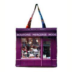 MBJPARECAGE19 Maron Bouillie 巴黎傳統老店圖案手提袋 (大) - Mercerie 帽子及鈕扣店