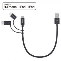 First Champion 3in1 microUSB Cable with Lightning & Type C Adaptor 30cm - MBLC-030 MBLC-030