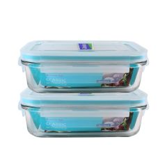 Glasslock - (Made in Korea)Rect Food Container 400ml 2pcs MCRB-040-BR