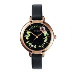 Oui & Me France Petite Fleurette Black Leather Strap Ladies Watches ME010007 ME010007