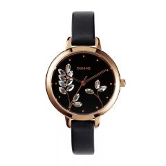 Oui & Me France Petite Fleurette Black Leather Strap Ladies Watches ME010137 ME010137