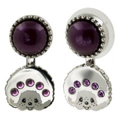 Monchichi LogoMania Earring (Silver/Purple) MO-EAR015-C23