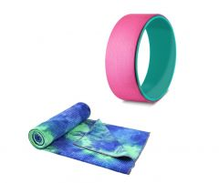 MOOV-OT220-OT144 OneTwoFit - Sweat-absorbent non-slip Yoga mat & Yoga wheel Set