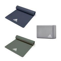 adidas - 瑜珈墊及瑜珈磚套裝 (藍色 / 綠色) MOV-20100_10100