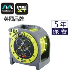 Masterplug - Cassette Reel 4X 13A PRO-XT DURABLE WITH INTERGRATED SWITCH THERMAL CUT-OUT - HMU15134SL (15M) MP-HMU15134
