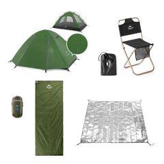Naturehike Bundle Set 2: P-Series 210T for 2 Fabric Aluminum Pole Tent(Green) + MZ01 Folding Stool With Backrest(Black) x 2pcs +  Mini Ultra Light envelope Style Sleeping Bags 15°c (Green) + PE Aluminum Foil Moisture-Proof Pad(Sliver) Small NHK_Bundle_2