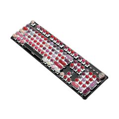 TSK - 輕奢口紅款真機械朋克復古電鍍按鍵金屬面板遊戲鍵盤