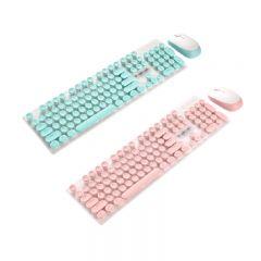 TSK - 專屬商務女生款無線機械手感遊戲鍵盤鼠標套裝(粉紅/粉藍)