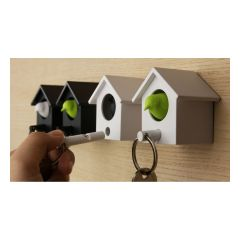QL10233-BK-MO QUALY - Cuckoo Key Ring – Whistle Key Ring + Key Holder (with White House/Black House)(4 colors option)