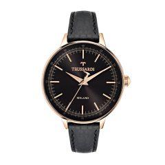 Trussardi T-Evolution Black Leather Strap Women's Watches R2451120502 R2451120502