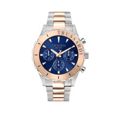 R2453143003 Trussardi T-Logo Silver W/ Rose Gold Metal Band Strap Men's Watches R2453143003
