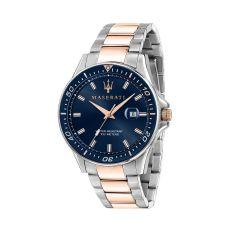Maserati Sfida Silver W/ Rose Gold Metal Band Strap Men's Watches R8853140003 R8853140003