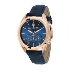 Maserati Traguardo Blue Leather Strap Chronograph Men's Watches R8871612015 R8871612015