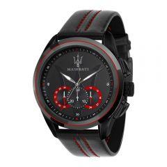 Maserati Traguardo Black Leather Strap Chronograph Men's Watches R8871612023 R8871612023