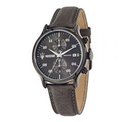 Maserati Epoca Dark Grey Leather Strap Chronograph Men's Watch R8871618002 R8871618002