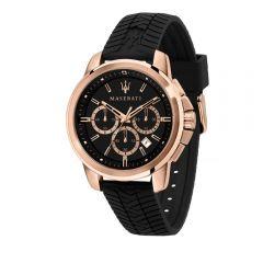 Maserati Successo Black Silicon Strap Chronograph Men's Watches R8871621012 R8871621012