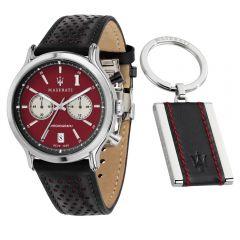 Maserati Legend Black Leather Strap Chronograph Men's Watch R8871638002 R8871638002
